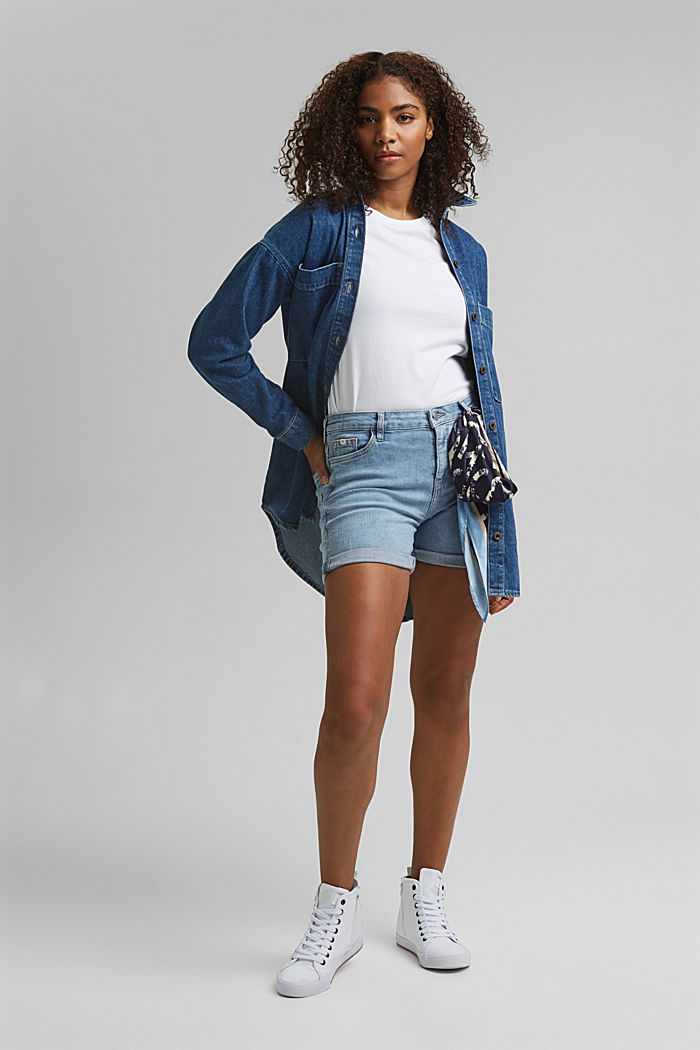 Stretch denim shorts, BLUE LIGHT WASHED, detail image number 1