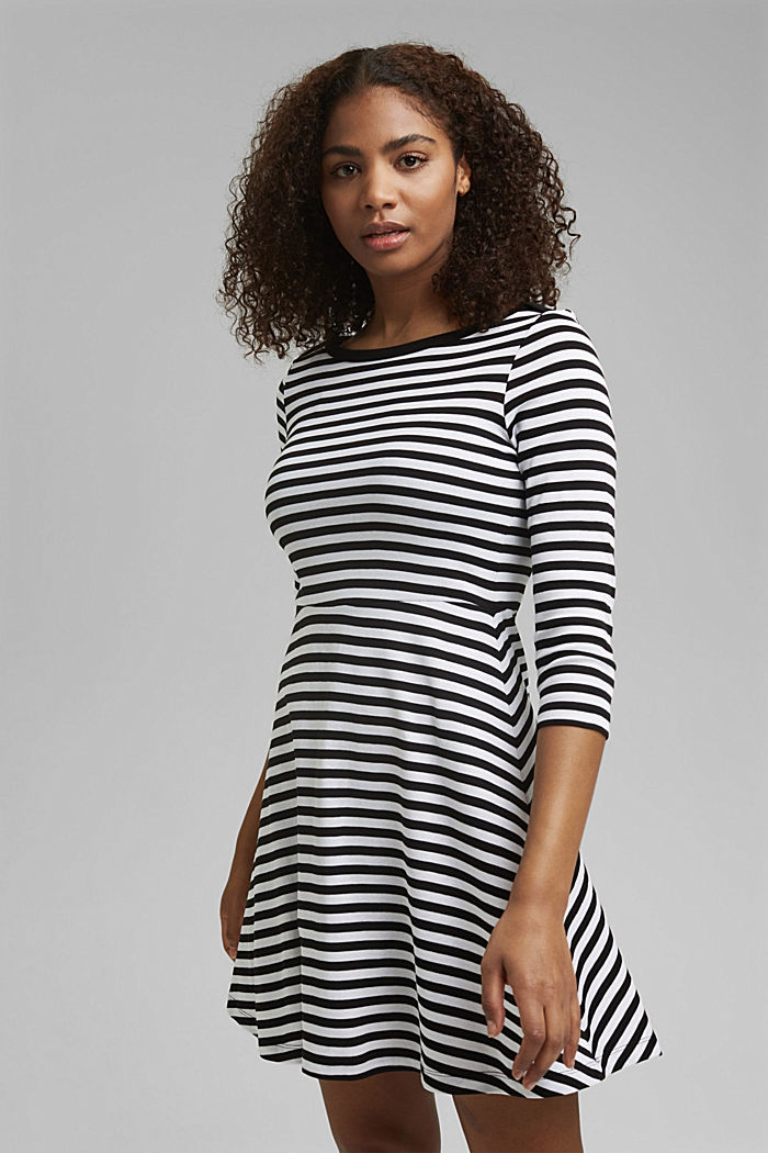 Striped jersey dress, 100% organic cotton, BLACK, detail image number 0