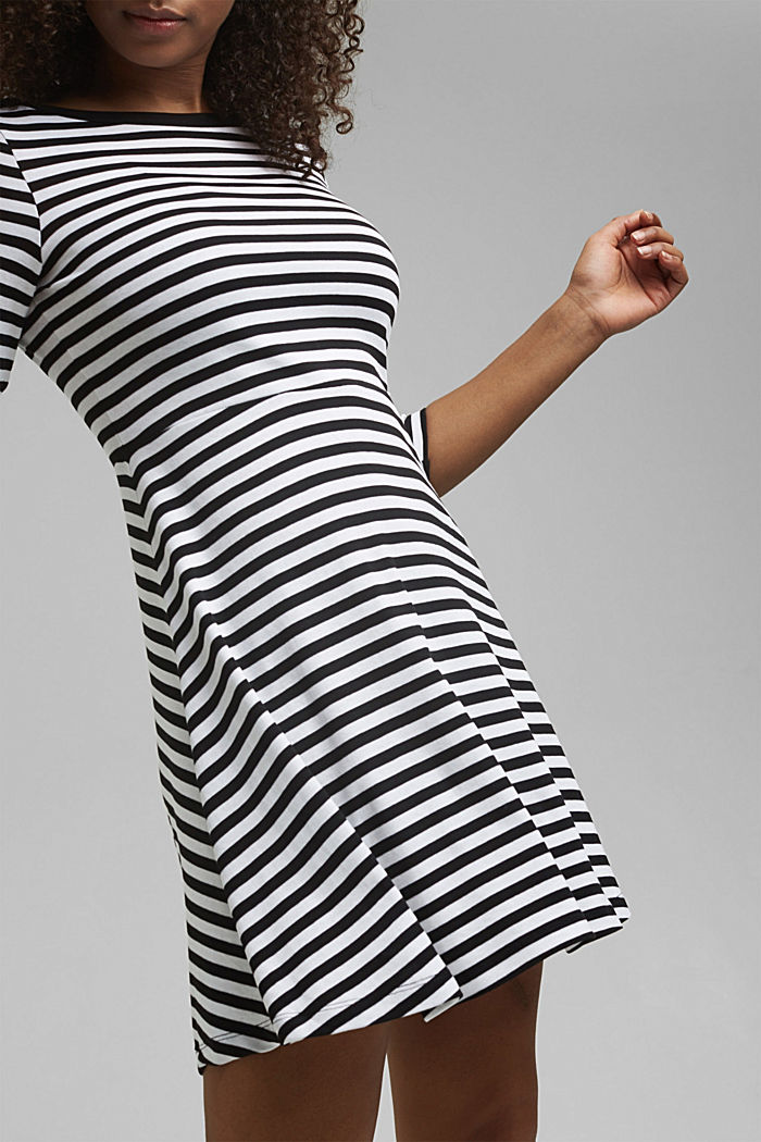 Striped jersey dress, 100% organic cotton, BLACK, detail image number 5