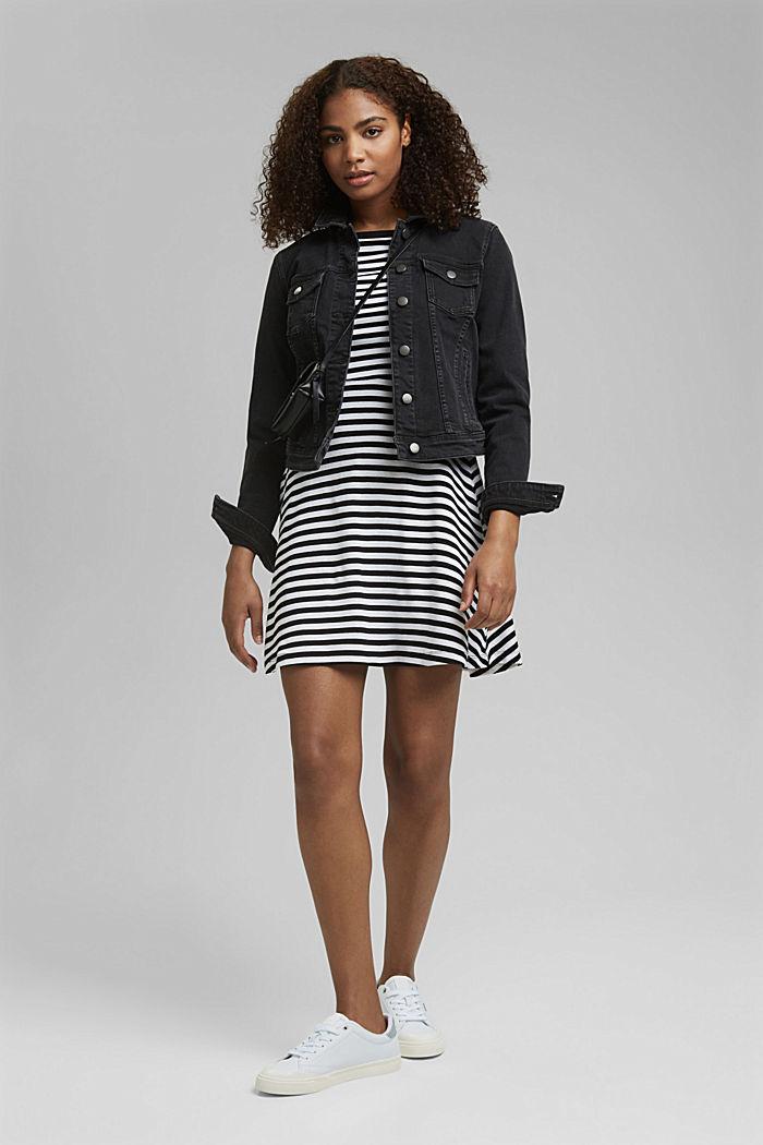 Striped jersey dress, 100% organic cotton, BLACK, detail image number 1