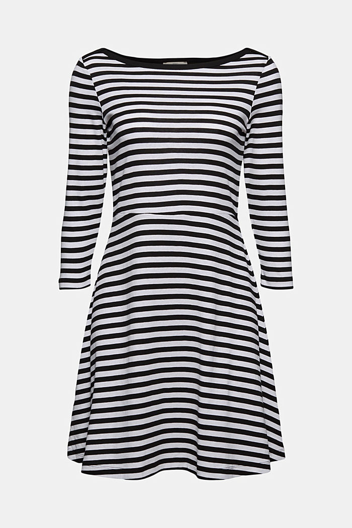 Striped jersey dress, 100% organic cotton, BLACK, detail image number 6