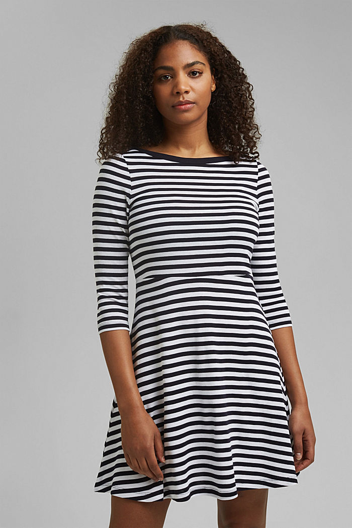 Striped jersey dress, 100% organic cotton, NAVY, detail image number 0