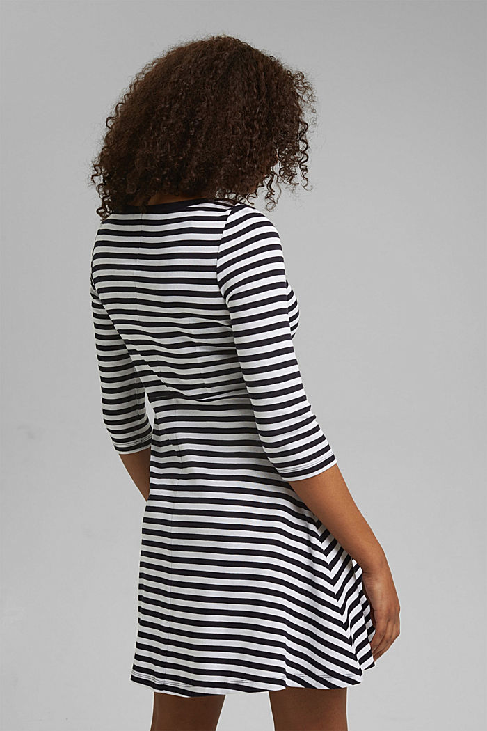 Striped jersey dress, 100% organic cotton, NAVY, detail image number 2