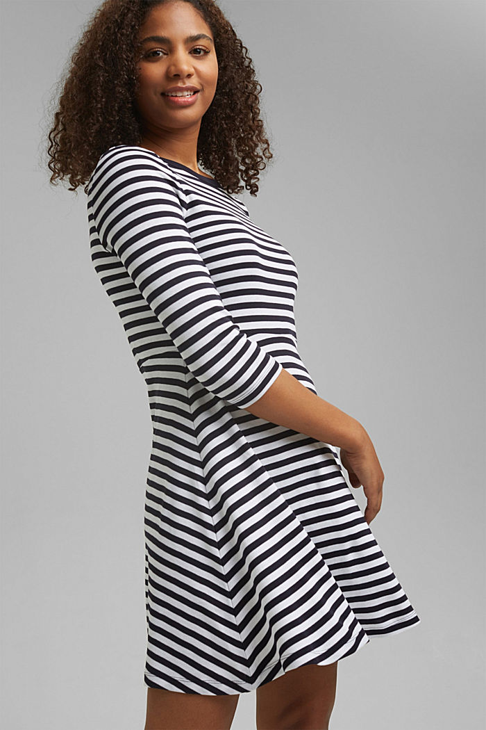 Striped jersey dress, 100% organic cotton, NAVY, detail image number 5