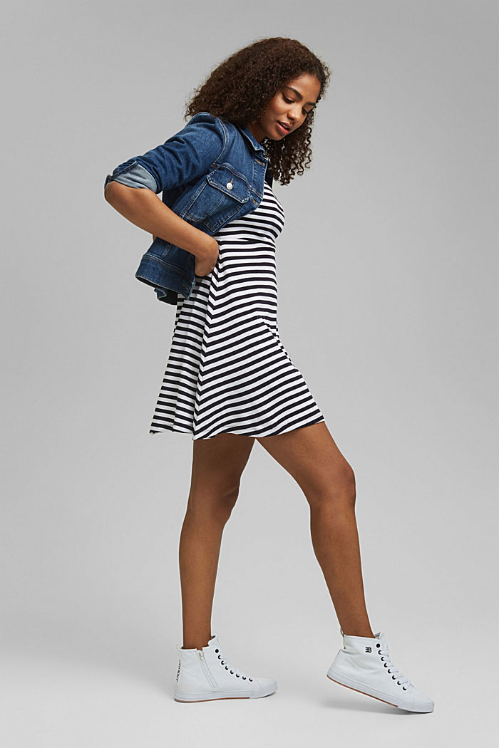 Striped jersey dress, 100% organic cotton, NAVY, overview