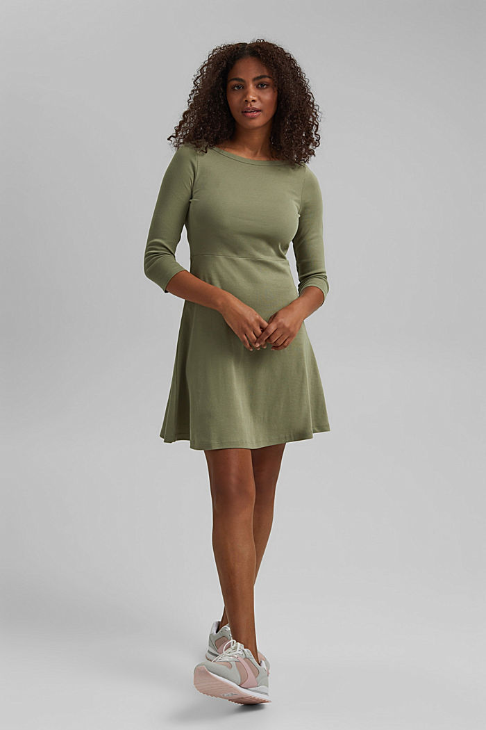Jersey dress made of organic cotton, KHAKI GREEN, detail image number 0