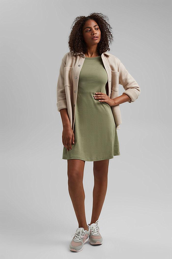Jersey dress made of organic cotton, KHAKI GREEN, detail image number 1