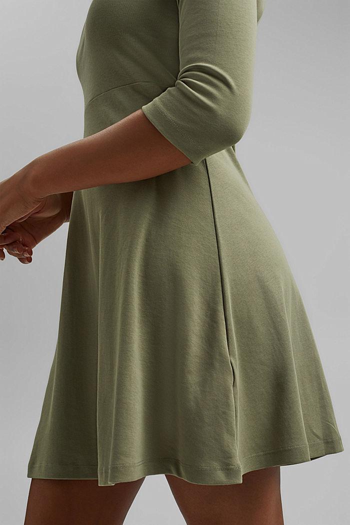 Jersey dress made of organic cotton, KHAKI GREEN, detail image number 3