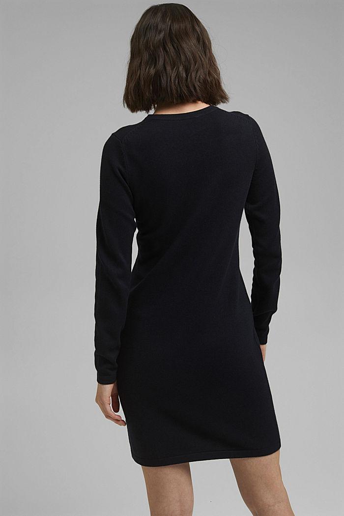 Robe-pull essentielle à teneur en coton biologique, BLACK, detail image number 2