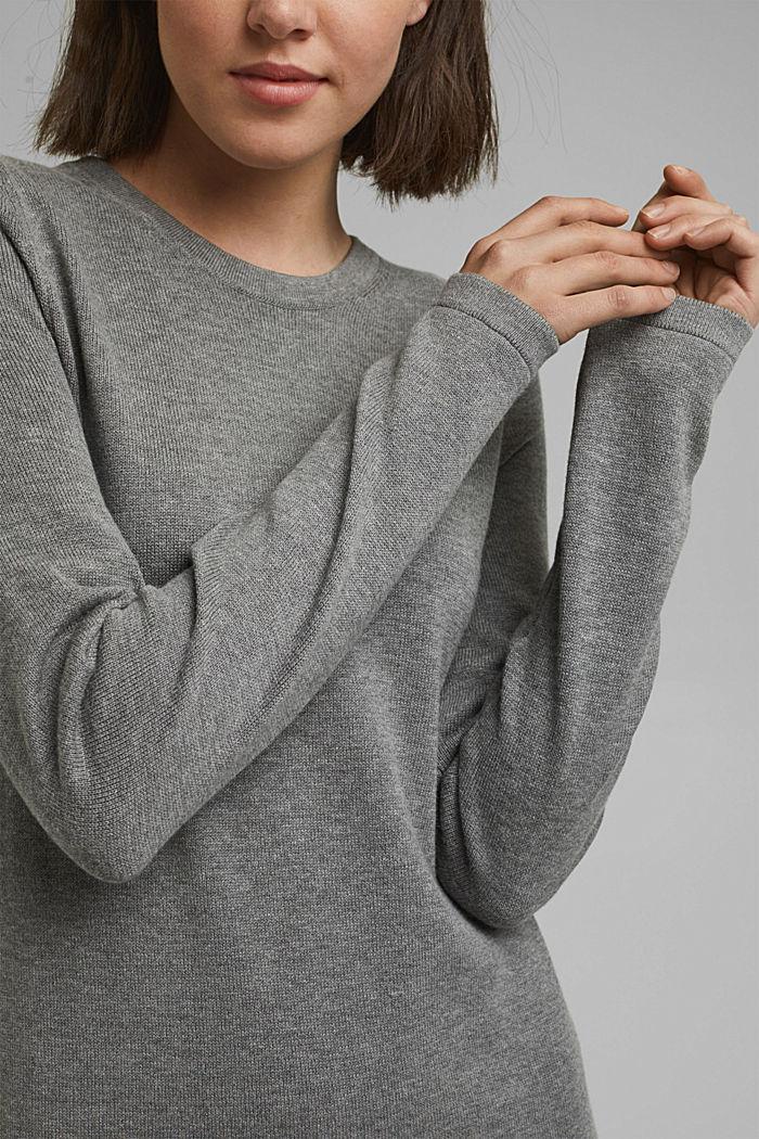 Robe-pull essentielle à teneur en coton biologique, MEDIUM GREY, detail image number 3