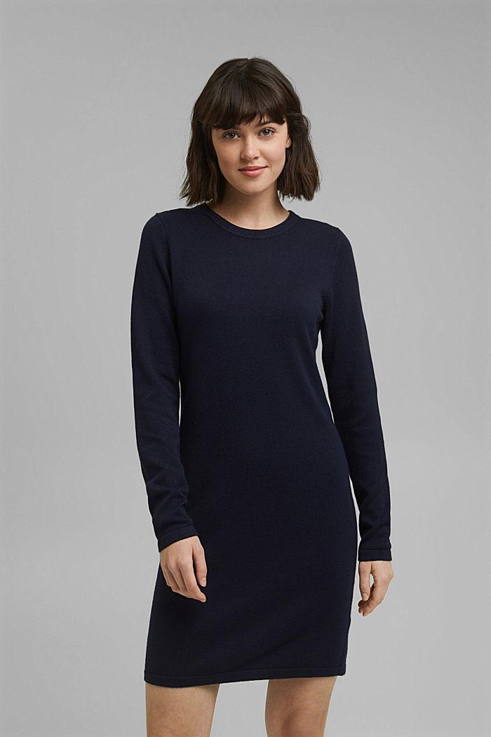Niezastąpiona dzianinowa sukienka z bawełną ekologiczną, NAVY, detail image number 0