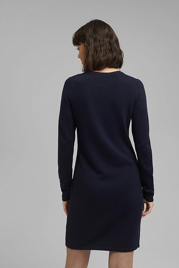 Niezastąpiona dzianinowa sukienka z bawełną ekologiczną, NAVY, detail image number 2