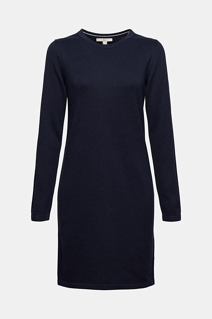 Niezastąpiona dzianinowa sukienka z bawełną ekologiczną, NAVY, detail image number 6
