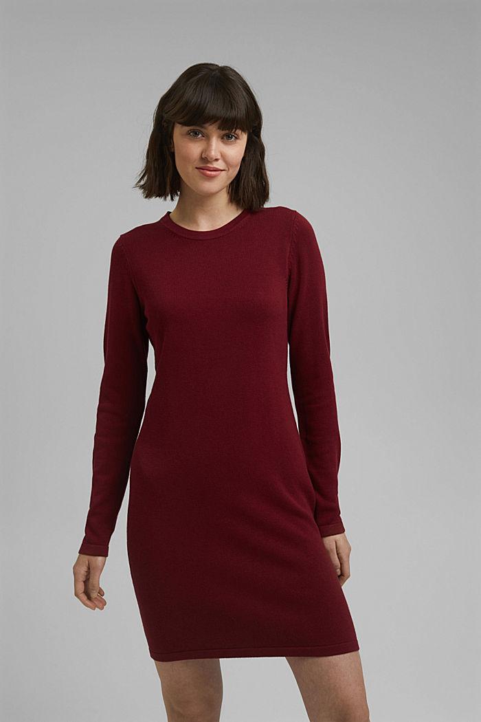 Vestido de punto sencillo con algodón ecológico, DARK RED, detail image number 0