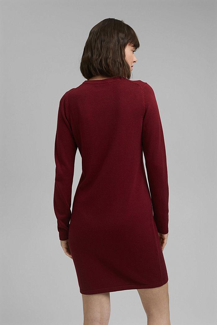 Vestido de punto sencillo con algodón ecológico, DARK RED, detail image number 2