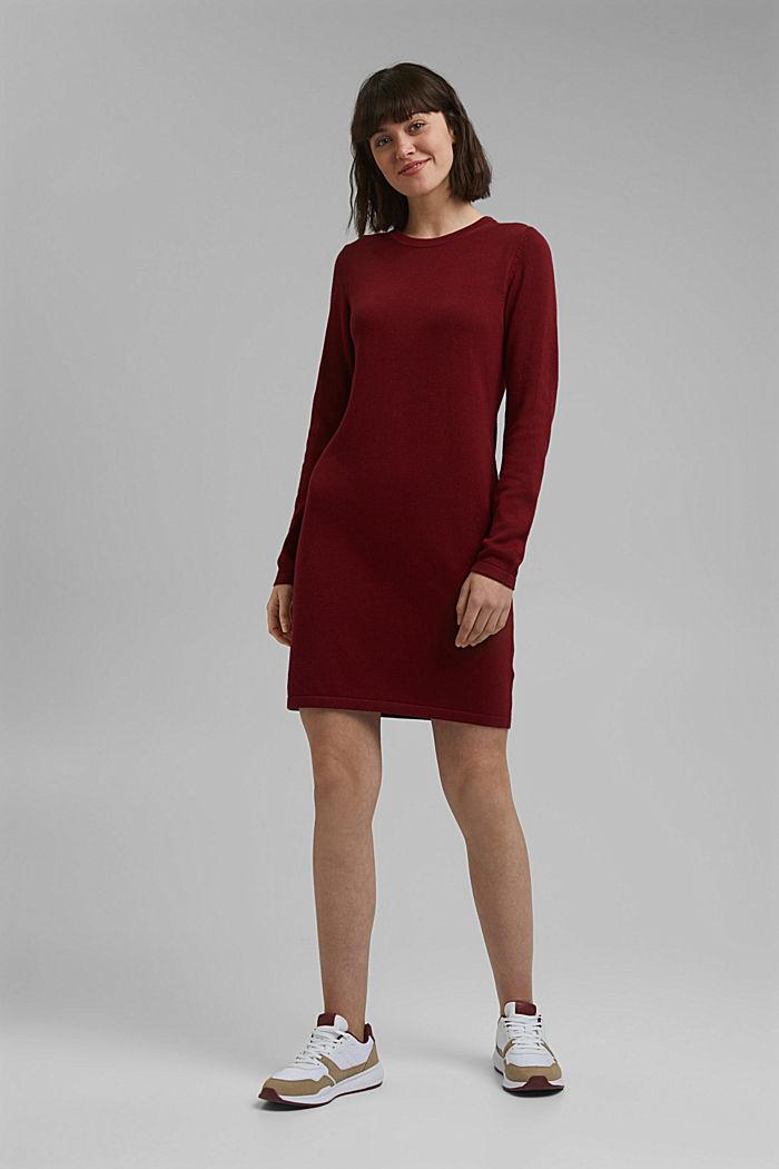 Vestido de punto sencillo con algodón ecológico, DARK RED, detail image number 1