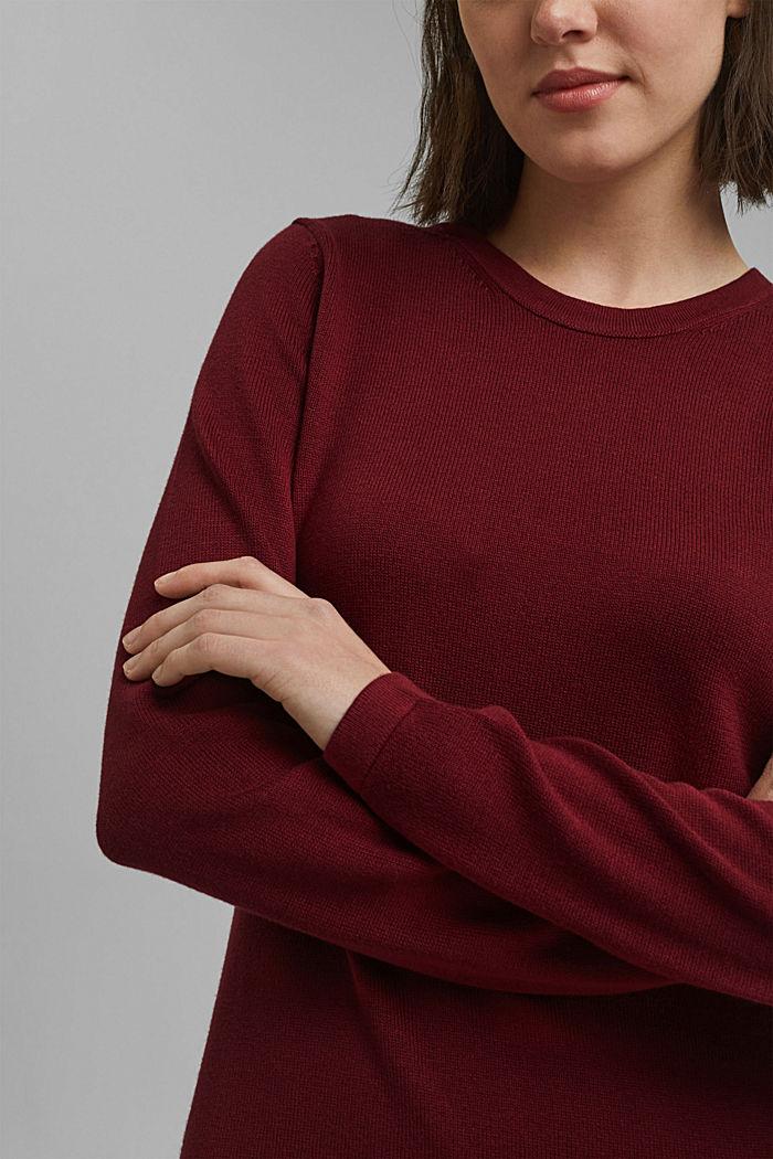Vestido de punto sencillo con algodón ecológico, DARK RED, detail image number 3