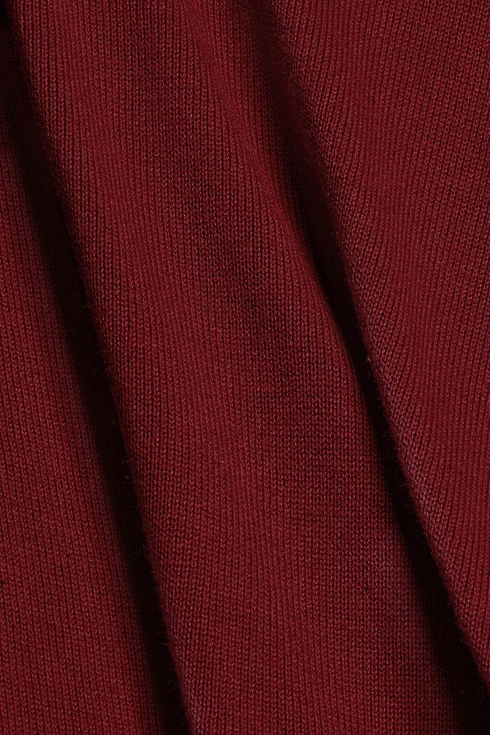 Vestido de punto sencillo con algodón ecológico, DARK RED, detail image number 4
