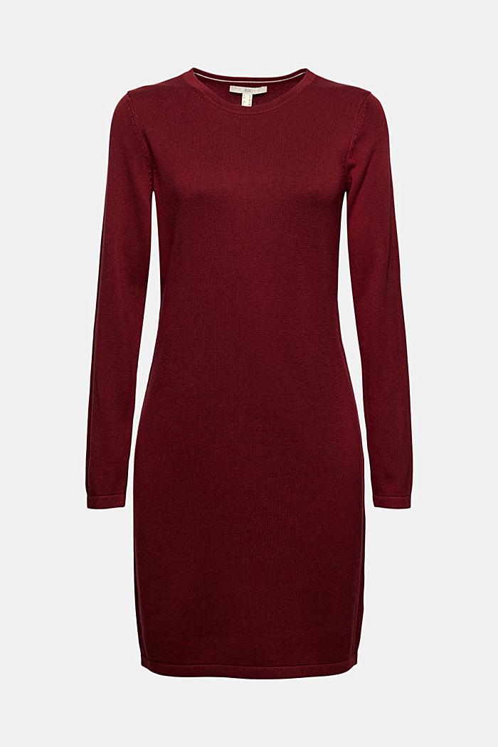 Vestido de punto sencillo con algodón ecológico, DARK RED, detail image number 5