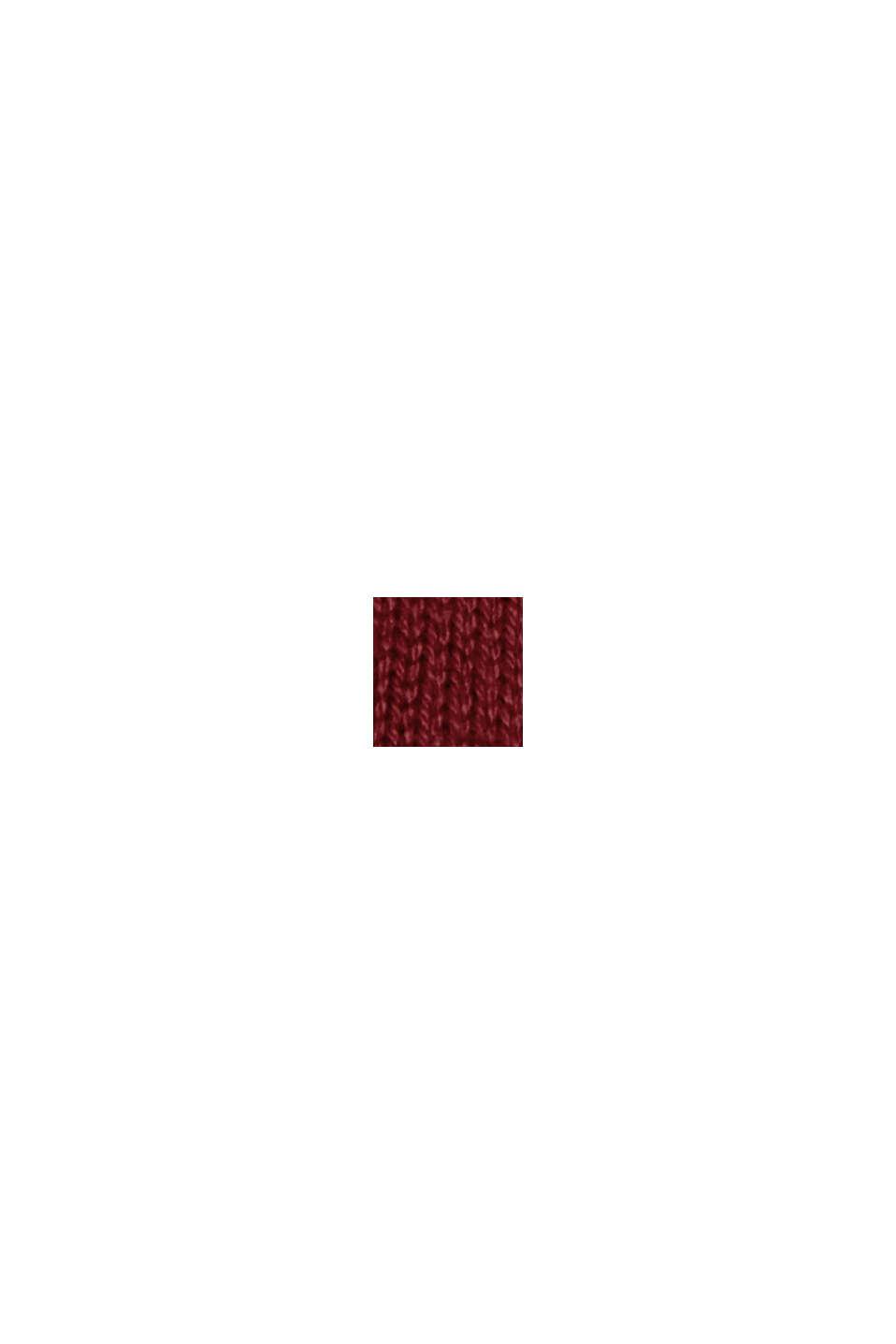 Abito basic a maglia con cotone biologico, DARK RED, swatch