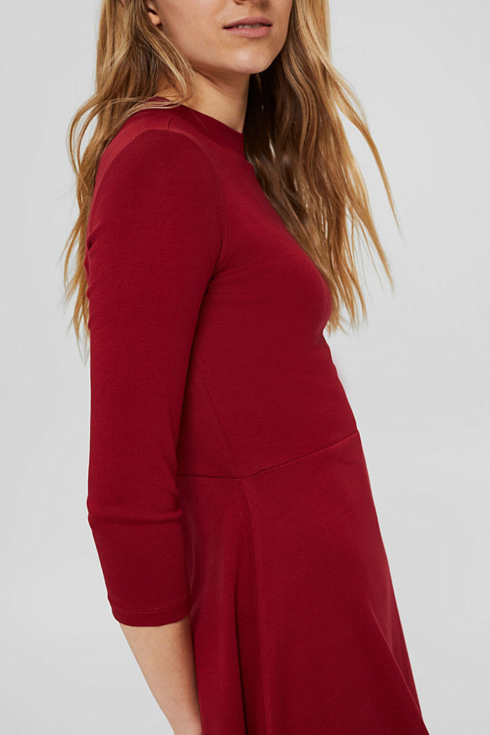Jersey dress made of 100% organic cotton, DARK RED, detail image number 3