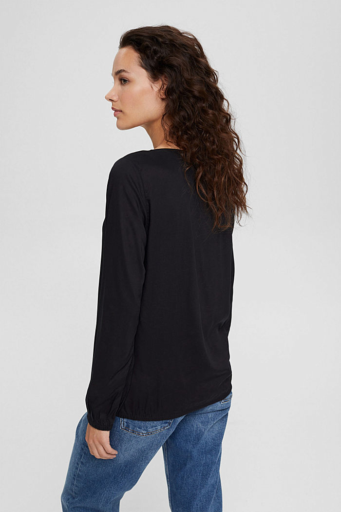 Blusa con scollo a V in LENZING™ ECOVERO™, BLACK, detail image number 3