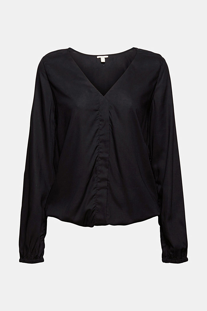 Blusa con scollo a V in LENZING™ ECOVERO™, BLACK, detail image number 6