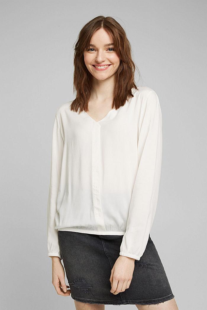 V-neck blouse made of LENZING™ ECOVERO™, OFF WHITE, detail image number 0