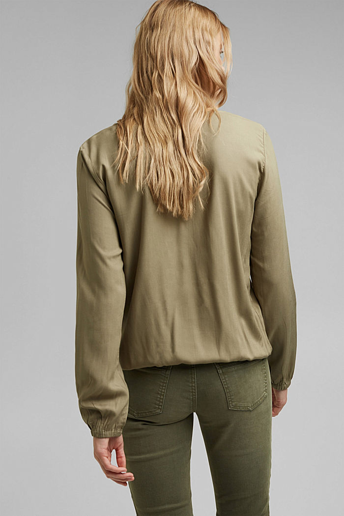 V-neck blouse made of LENZING™ ECOVERO™, LIGHT KHAKI, detail image number 3