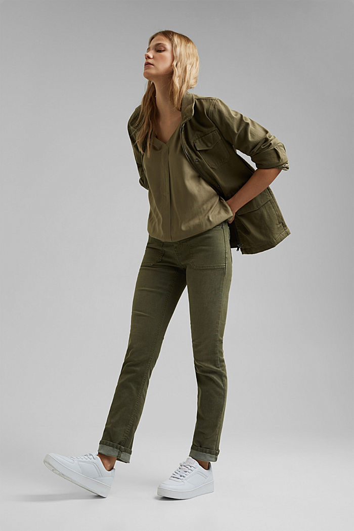 Blouse made from LENZING™ ECOVERO™, LIGHT KHAKI, detail image number 1