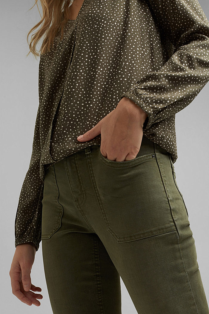 Blouse made from LENZING™ ECOVERO™, KHAKI GREEN, detail image number 2
