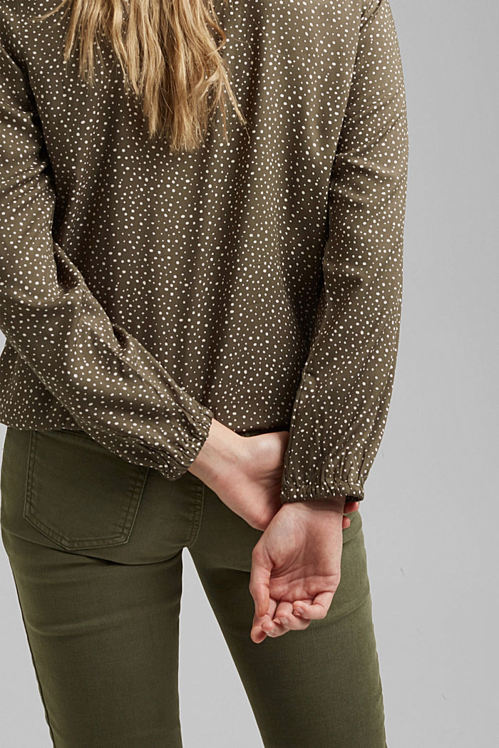 Blouse made from LENZING™ ECOVERO™, KHAKI GREEN, detail image number 5