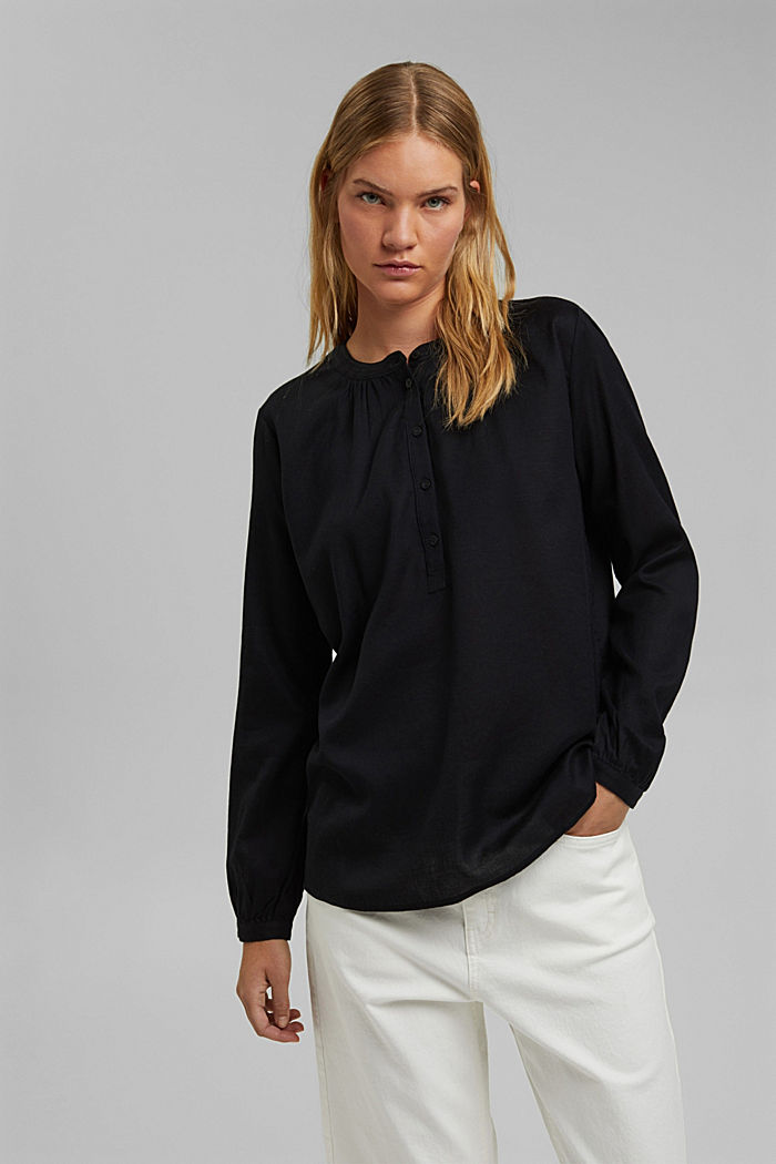 Henley blouse made of 100% cotton, BLACK, detail image number 0