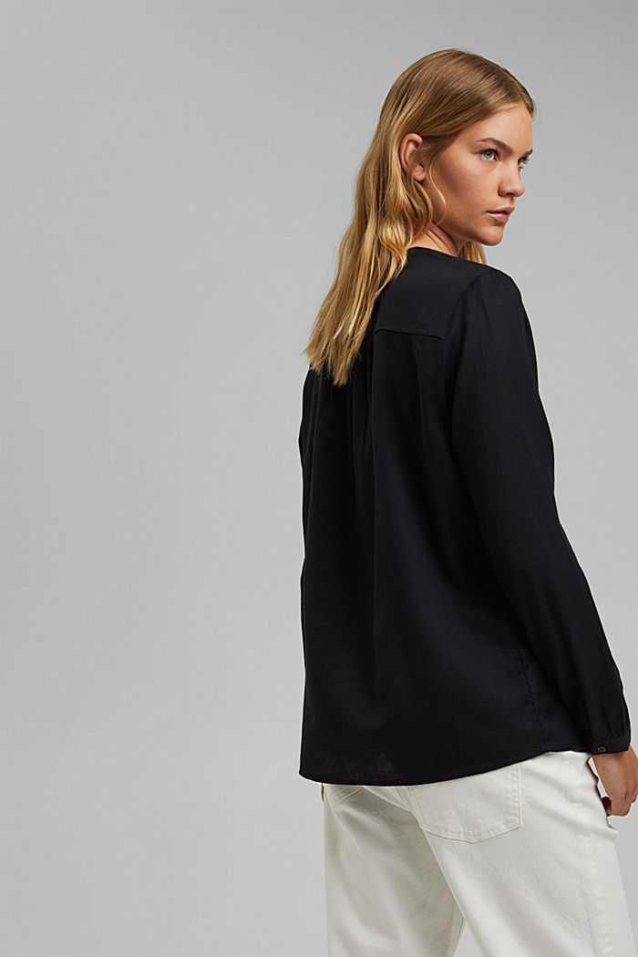 Henley blouse made of 100% cotton, BLACK, detail image number 3