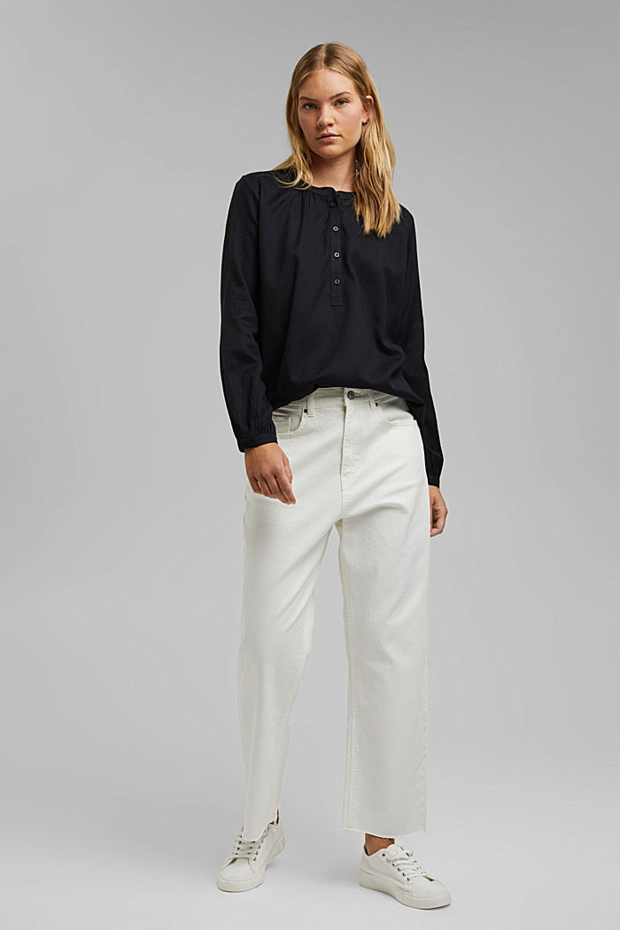 Henley blouse made of 100% cotton, BLACK, detail image number 1
