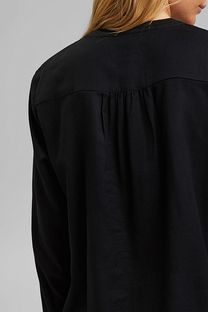 Henley blouse made of 100% cotton, BLACK, detail image number 5