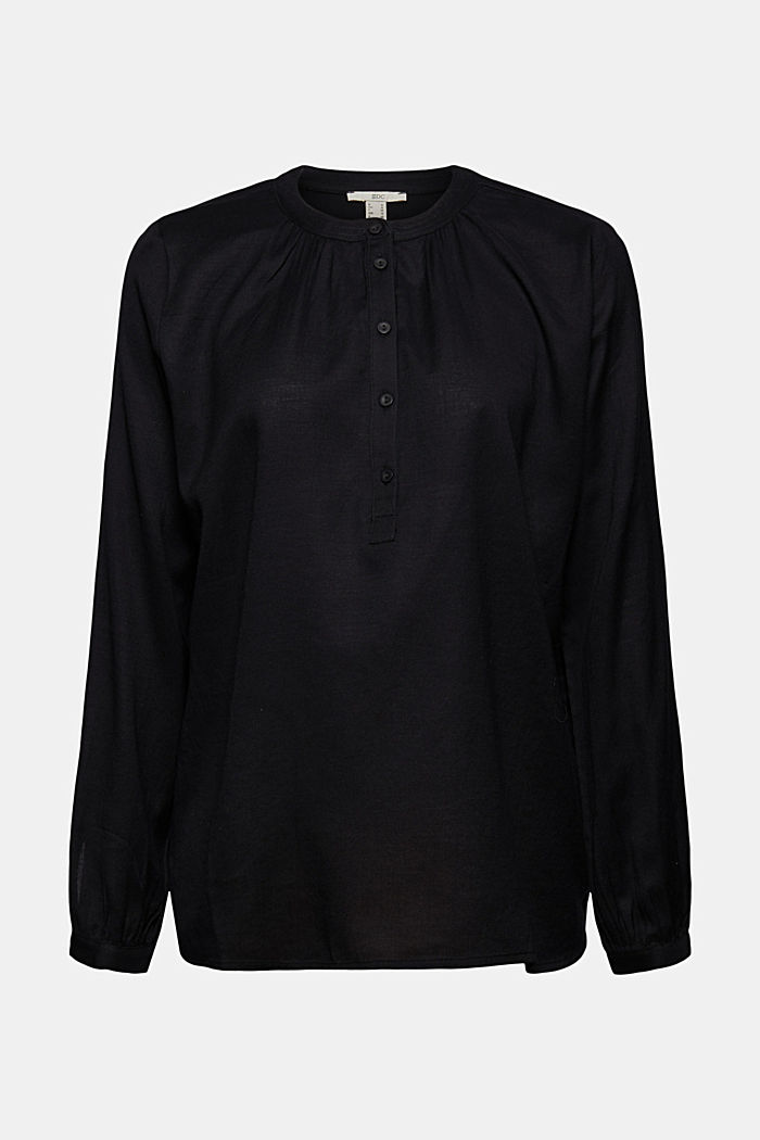 Henley blouse made of 100% cotton, BLACK, detail image number 7