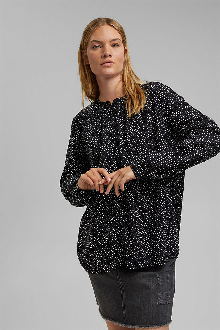 Bluzka henley z nadrukiem, LENZING™ ECOVERO™, BLACK, detail image number 0