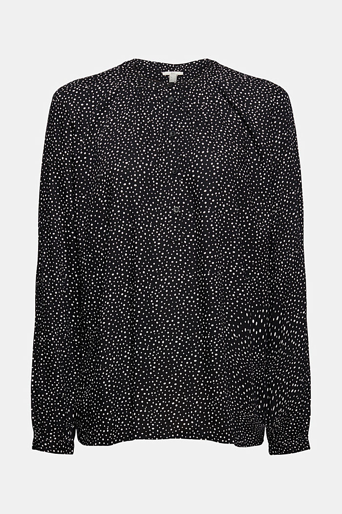 Bluzka henley z nadrukiem, LENZING™ ECOVERO™, BLACK, detail image number 6