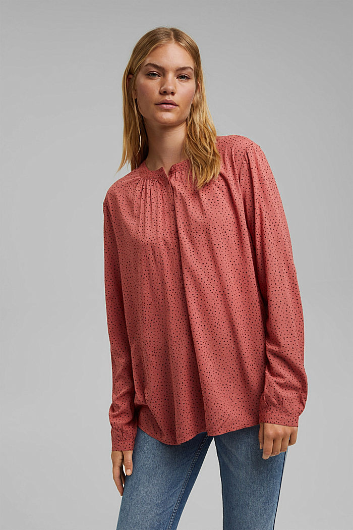 Bluzka henley z nadrukiem, LENZING™ ECOVERO™, CORAL, detail image number 0
