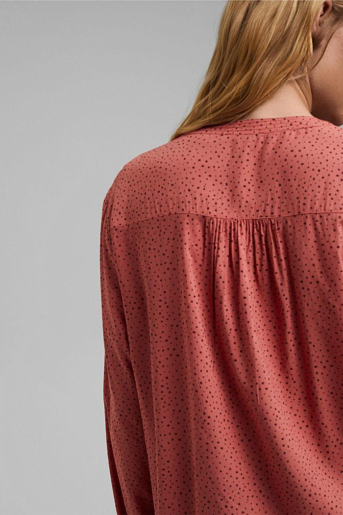 Bluzka henley z nadrukiem, LENZING™ ECOVERO™, CORAL, detail image number 5