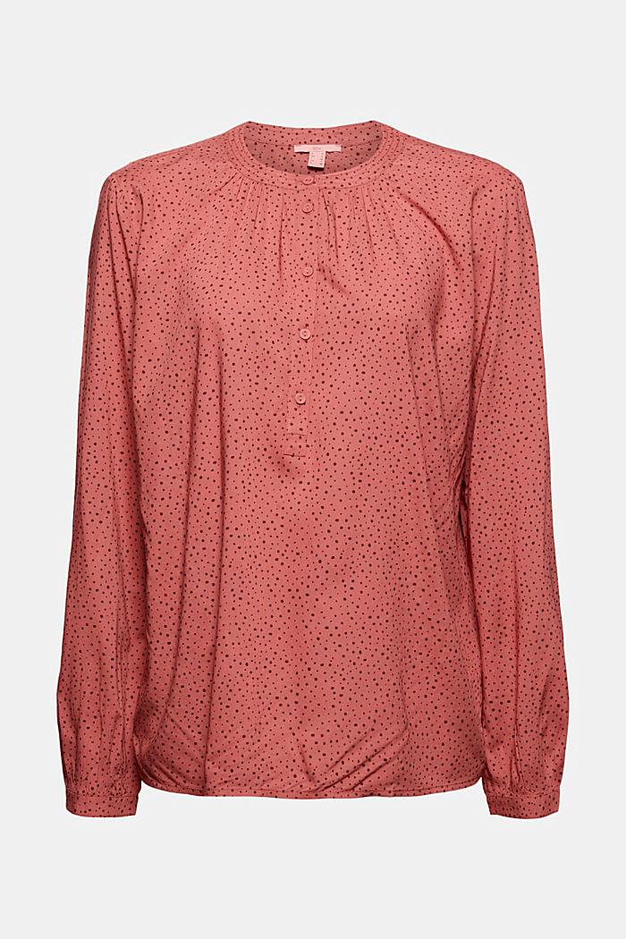 Bluzka henley z nadrukiem, LENZING™ ECOVERO™, CORAL, detail image number 7