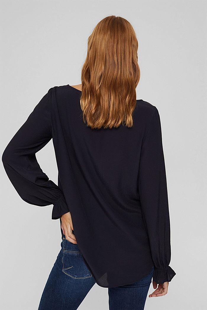 Bluse mit Volantdetails und LENZING™ ECOVERO™, NAVY, detail image number 3