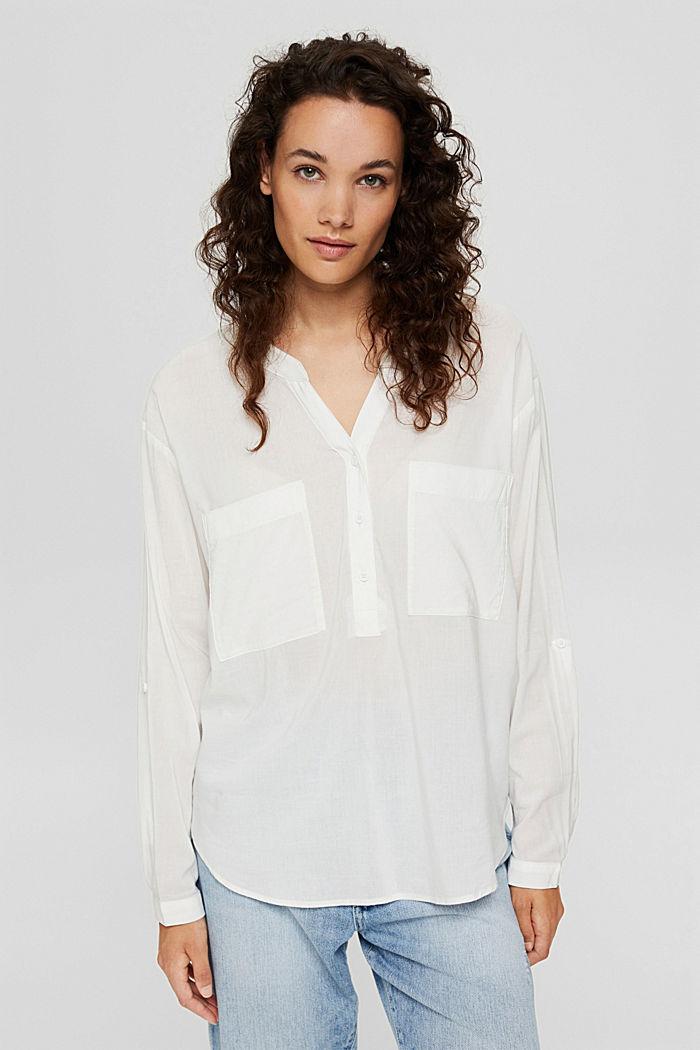 Blusa con scollo a calice e tasche, OFF WHITE, detail image number 0