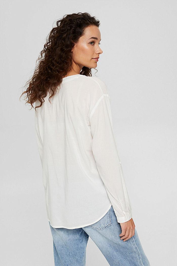 Blusa con scollo a calice e tasche, OFF WHITE, detail image number 3