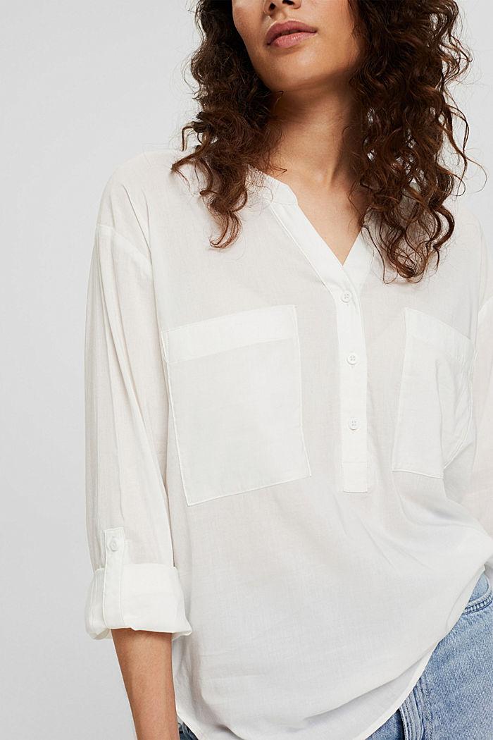 Blusa con scollo a calice e tasche, OFF WHITE, detail image number 2
