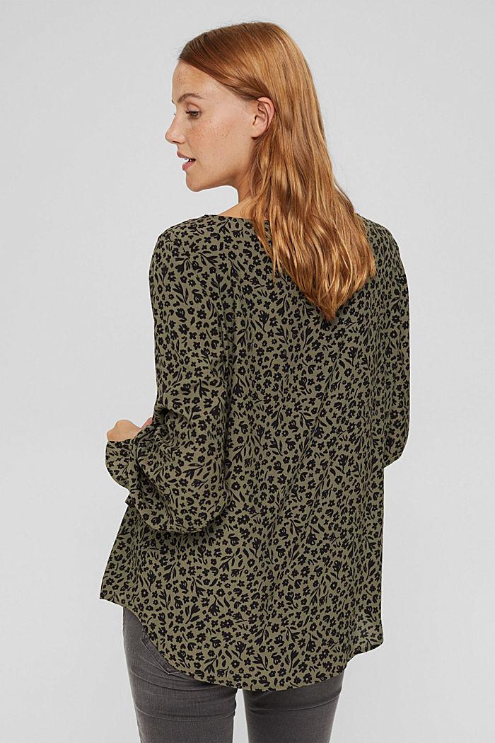 Gebloemde blouse met volantdetails, LENZING™ ECOVERO™, DARK KHAKI, detail image number 3