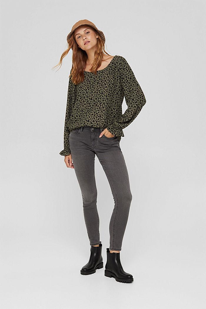 Gebloemde blouse met volantdetails, LENZING™ ECOVERO™, DARK KHAKI, detail image number 1