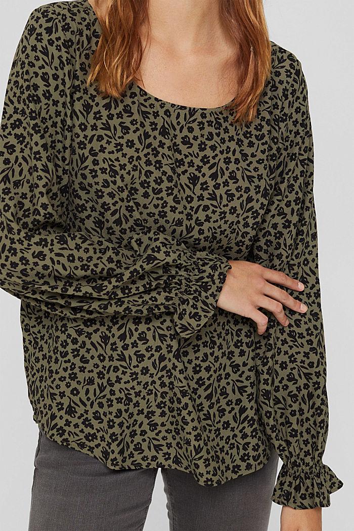 Gebloemde blouse met volantdetails, LENZING™ ECOVERO™, DARK KHAKI, detail image number 2