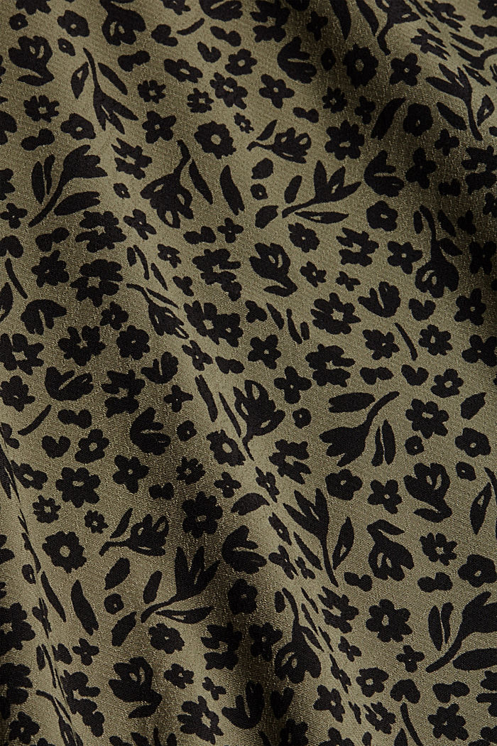 Gebloemde blouse met volantdetails, LENZING™ ECOVERO™, DARK KHAKI, detail image number 4